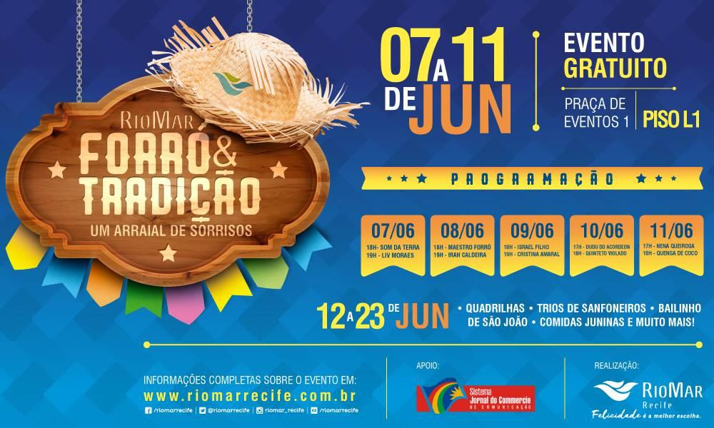 Forró & Tradição no Shopping RioMar Recife traz Israel Filho, Nena Queiroga, Dudu do Acordeon, Quinteto Violado e mais!