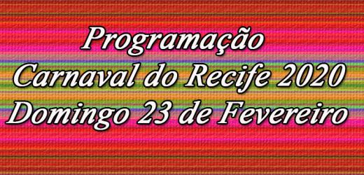 Programação Domingo de Carnaval