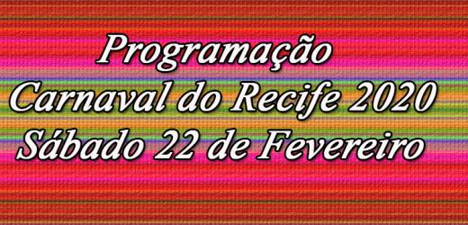 Programação de Carnaval Sábado 22 de Fevereiro.