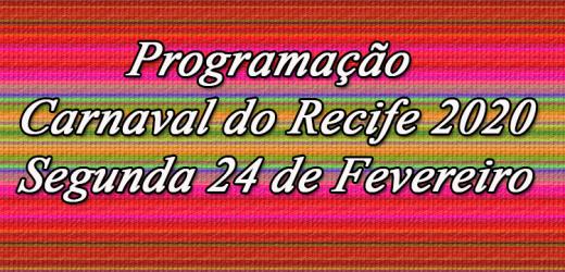 Programação do Carnaval  24 de Fevereiro.